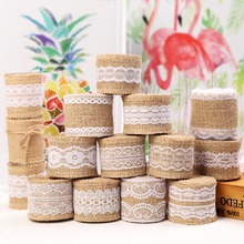 2M Roll Natural Jute Burlap Ribbon Vintage Wedding Accessories Sisal Lace Hessian For Rustic Christmas Weddings Events Party cheap CN(Origin) Webbing Eco-Friendly