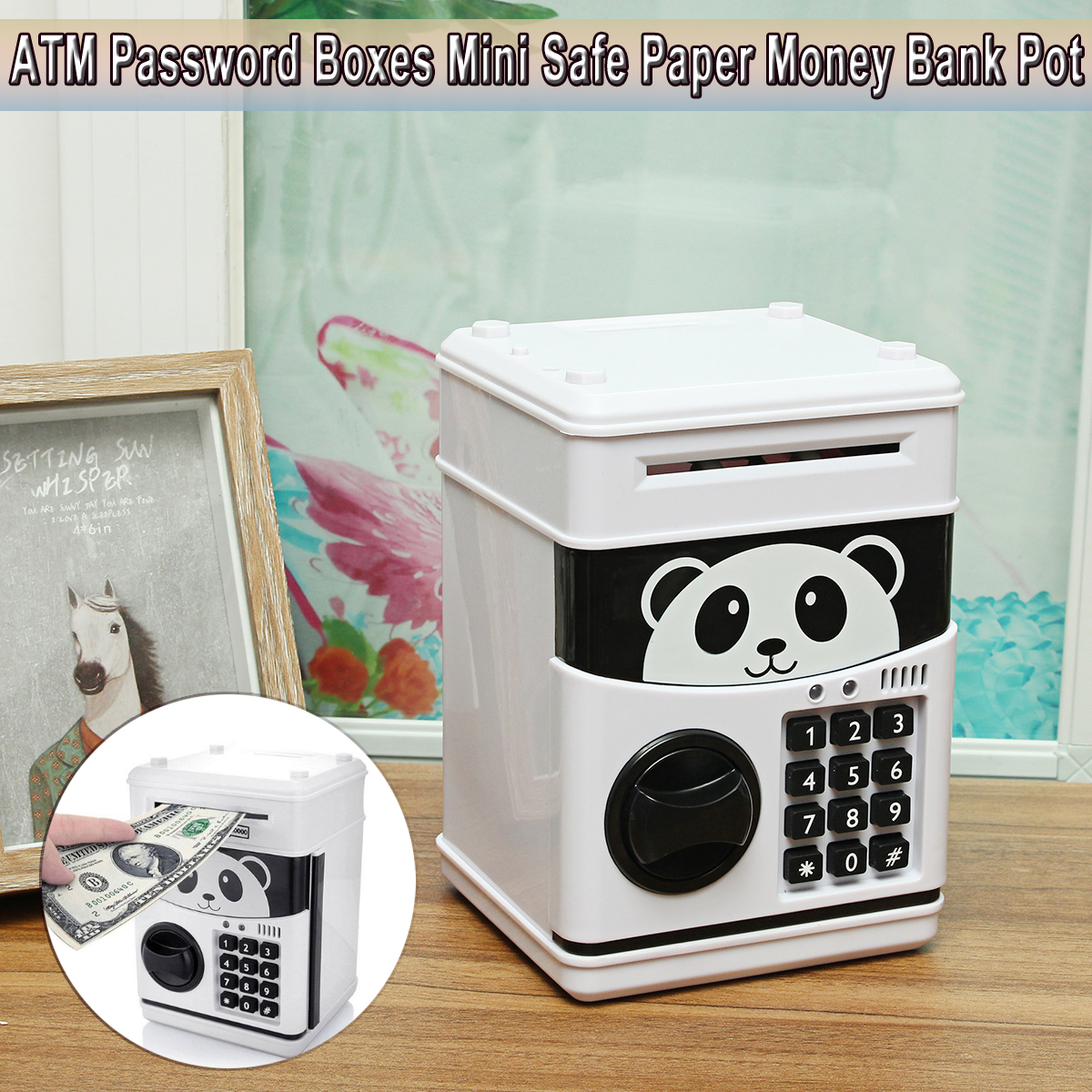 Coins Saving Box Bank Safe Box Automatic Deposit Banknote Christmas Gift Panda Electronic Piggy Bank ATM Password Money Box Cash