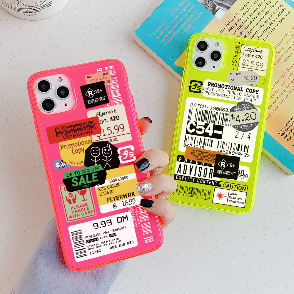 Fluorescent stamp label barcode Phone Case For Samsung A50 A70 A51 A71 S20 S9 S10 plus note10 plus Cover Cute Transparent Cases(China)