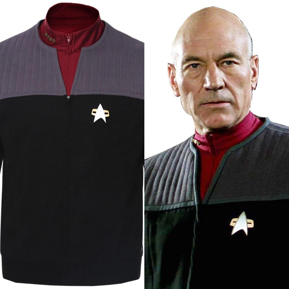 Star Cosplay Trek Jean-Luc Picard Costume Coat Generations Vest+Shirt(China)