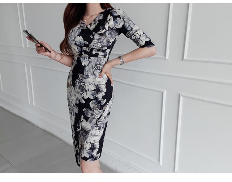 Floral Print Half Sleeve Sheath Knee-length Dress 5
