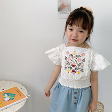 Baby Girls White Lace Princess Blouse Korean Child Clothes Fashion Flare Sleeve Embroidery Flower Crop Tops Toddler Kids Shirt flower lace panel blouse