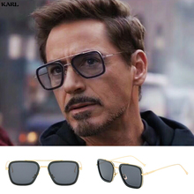 KARL Luxury Fashion Brand Avengers Tony Stark Vintage Square Man Sunglasses Men Women Driving Gafas De Sol
