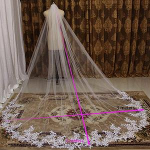 Image 5 - High Quality 3 Meters Long Wedding Veil Lace Appliques Bridal Veil with Comb White Ivory Veil for Bride Welon