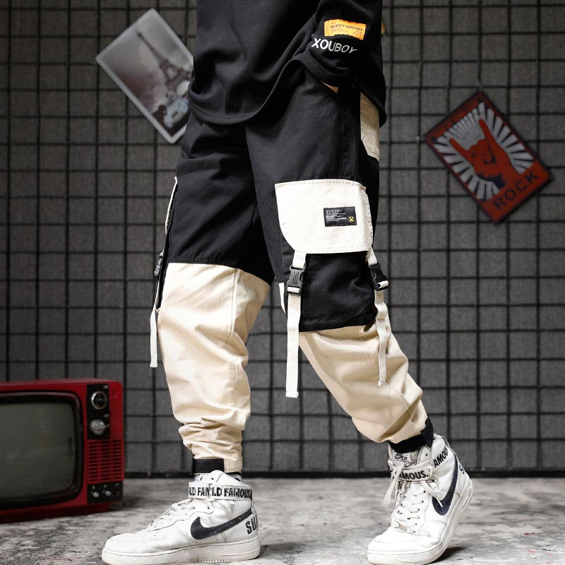 Fashion Mens Hi-street Cargo Pants Slim Fit Urban Style Hip Hop Patchwork Pocket Trousers Cuffed Joggers Pants For Male
