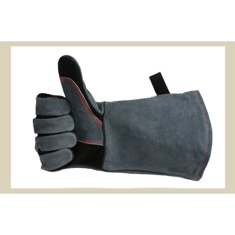 Cow Split Leather Welding Gloves Safety Protective Factory Gardening Welding Wood Stove Heat/Fire Resistant Long Work Gloves