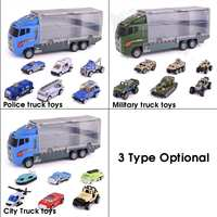 Big Truck & 6PCS Mini Alloy Diecast Car Model Toys Vehicles Carrier Truck Engineering Car Toys For Kids Boys Truck toy set