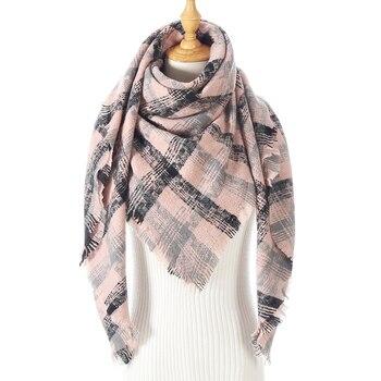 Knitted Winter Scarf Women Cashmere Pashmina Luxury Plaid Triangle Neck Scarves Lady Warm Blanket Femme Echarpe Bufanda - discount item  60% OFF Scarves & Wraps