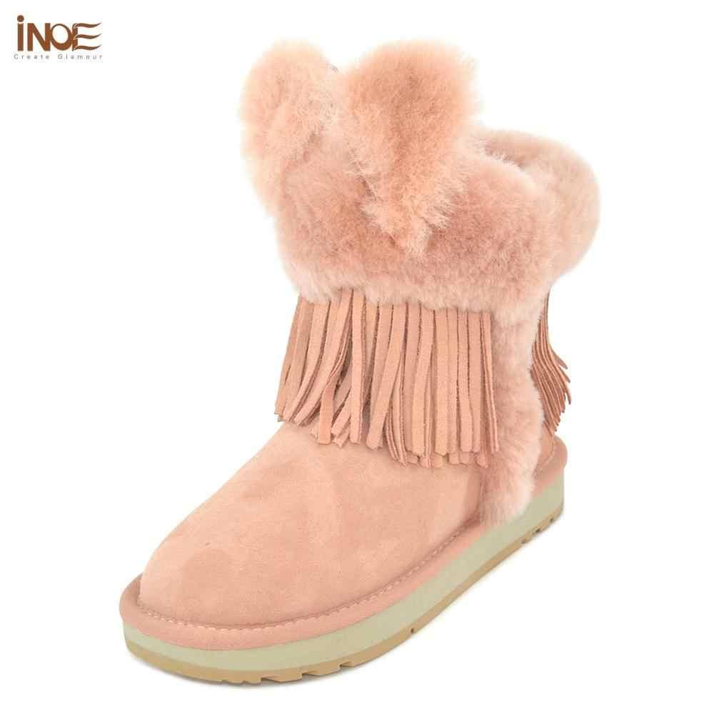 INOE tavşan kulak tarzı koyun derisi süet deri gerçek kürk astarlı orta buzağı kadın kışlık botlar yüksek kalite sıcak tutmak kar botları pembe