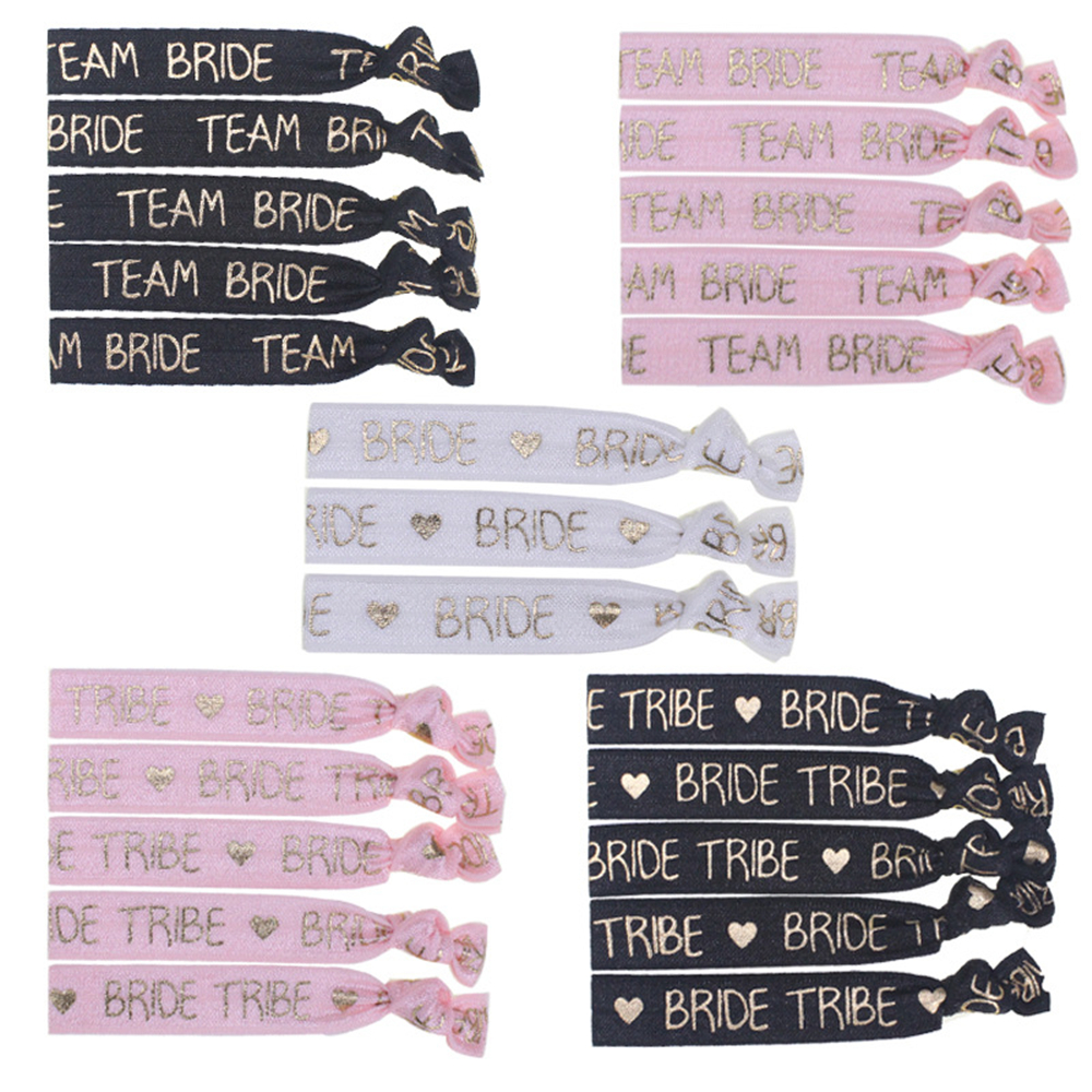 Bachelorette Party 10pcs Bracelet Team Bride To Be Tribe Hand Band Head Rope Hair Accessories Hen Party Night Wedding Supplies,Q