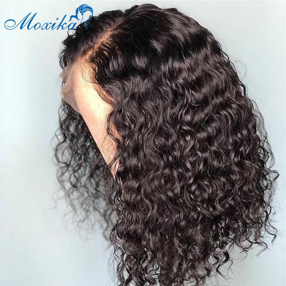 Moxika 13x4 kręcone koronki peruka peruka z krótkim bobem koronki przodu włosów ludzkich peruk wstępnie oskubane brazylijski fryzura Pixie peruka Remy 180 gęstości