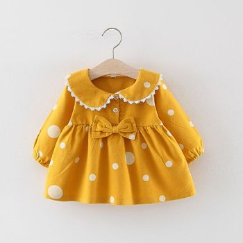 Girls Dress Toddler Kids Baby Girl Children Clothes Autumn Winter Long Flare Sleeve Polka Dot Print Princess Dresses