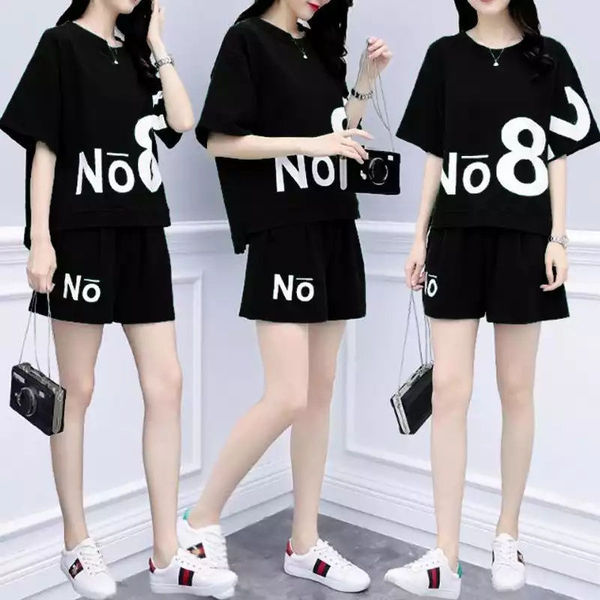8585 # Leisure Suit WOMEN'S Shorts Sports Clothing Summer New Style 2019 Fashion Fat Mm Large Size Short Sleeve T-shirt Two