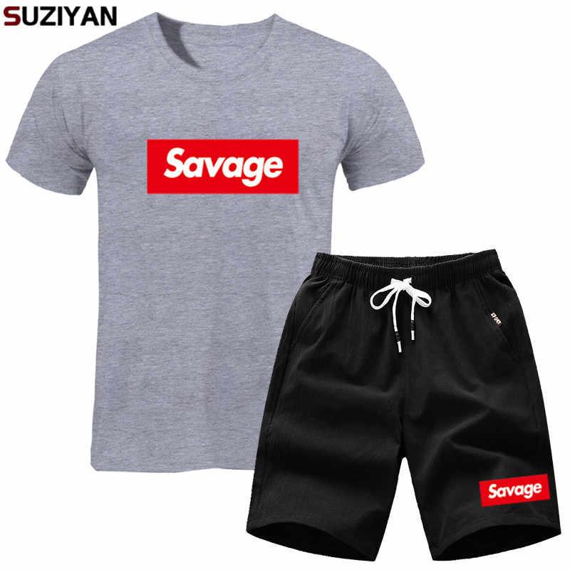 Garnitury sportowe zestaw mężczyźni 2019 nowa marka SAVAGE garnitury lato 2PC Top krótki zestaw mężczyzna O kołnierz moda 2 sztuk T-shirt szorty dres