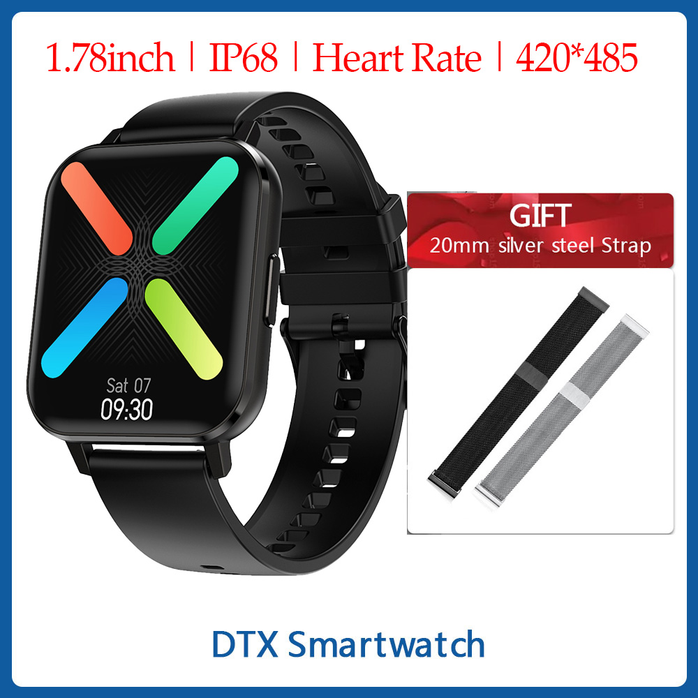 <font><b>NO</b></font>.<font><b>1</b></font> DTX Smart Watch IP68 Waterproof ECG Heart Rate <font><b>DT</b></font> X <font><b>1</b></font>.78inch Sleep Monitor Blood Pressure VS W26 P8 Pro <font><b>SmartWatch</b></font> Men image