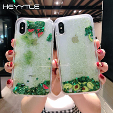 Heyytle Star Glitter Case For iPhone 7 8 Plus X XS MAX Dynamic Liquid Quicksand Cover XR 6 6S 7Plus Summer Fruit Cases Coque