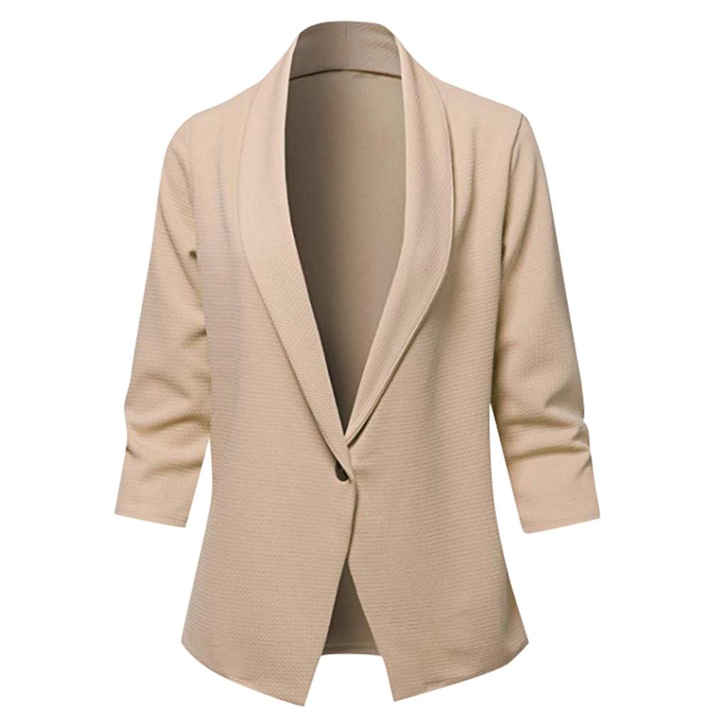 2019 Spring Autumn Slim Fit Women Formal Jackets Office Work Open Front Notched Ladies Blazer Coat Hot Sale Fashion#J30