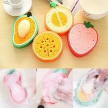 Cute Fruits Shape Strong Water Absorbent Sponge Practical Cleaning Cloths Strawberry Orange Pan Dish Cloth Soft WashTools