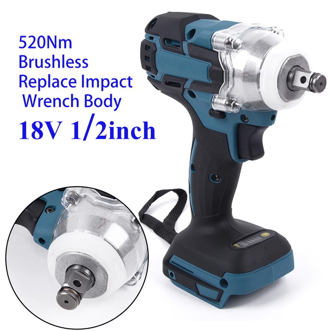 18V 520Nm 1/2in Brushless Impact Wrench Body Without Battery Torque Electric Wrench For Makita Battery 3200rpm Multi-purpose