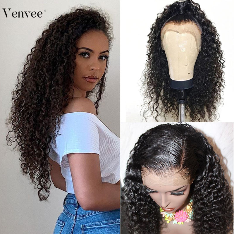 Transparent Full Lace Human Hair Wigs Pre Plucked With Baby Hair 150 180 250 Curly Full Lace Wig For Women Venvee Remy Hair