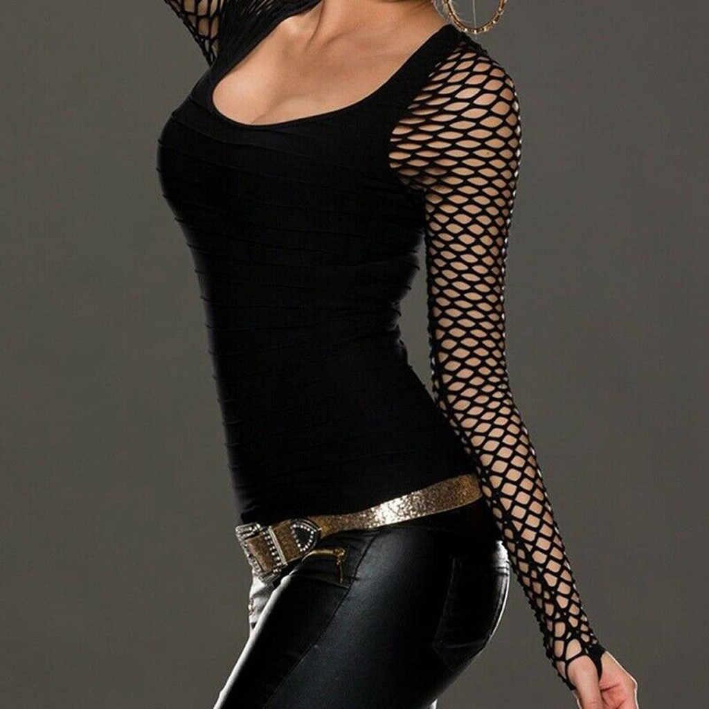 Женская футболка в сеточку с низким вырезом и длинным рукавом, топы в стиле панк-рок, Готическая сетка, рубашка, Camiseta Mujer, футболка, женская тонкая футболка