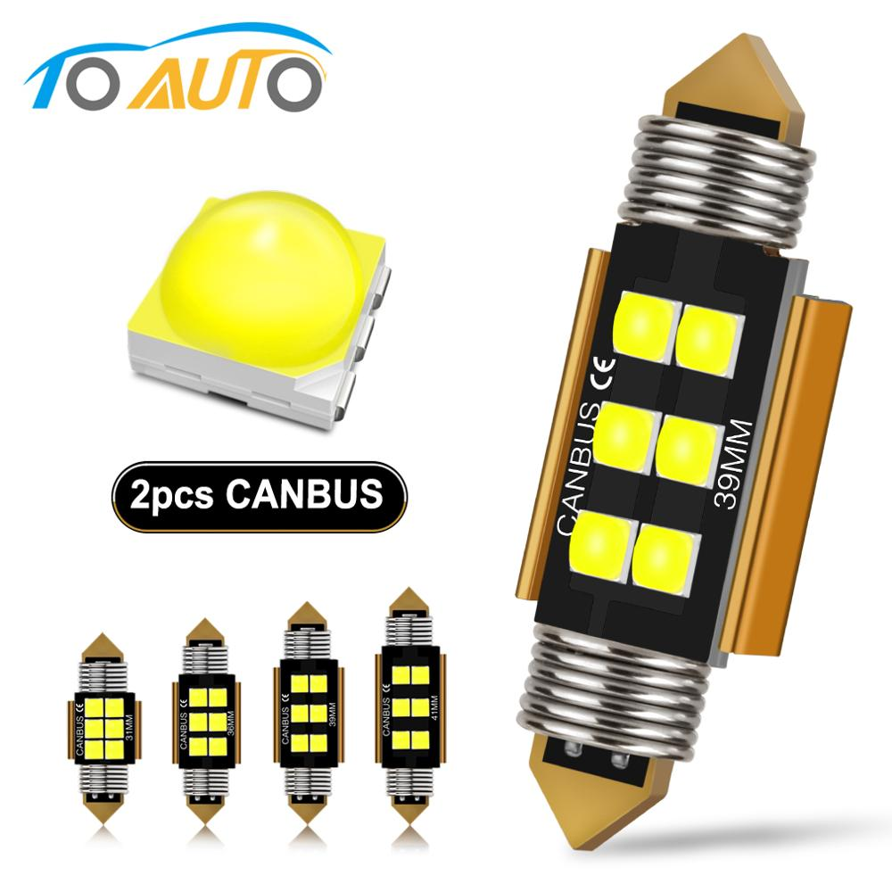 2pcs C5W C10W Festoon LED 31mm 36mm 39mm 41mm Canbus Bulb 3030 Chips Car Light Dome Reading License Plate Lamp Auto 6000K 12V