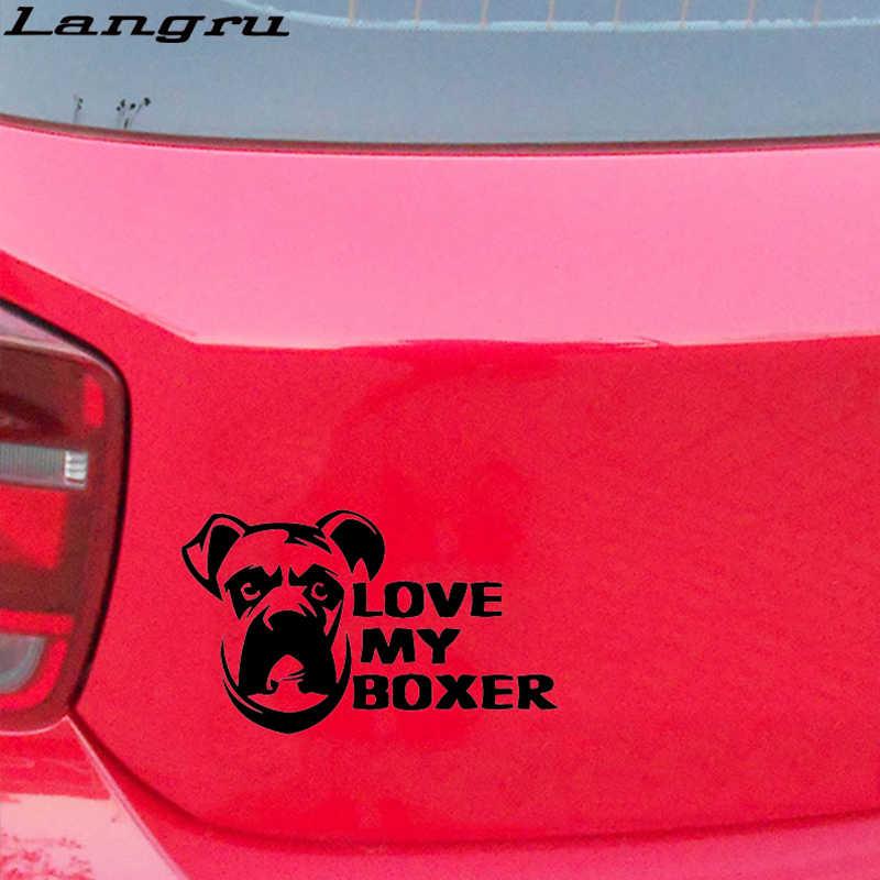 Langru 16*9.5cm seviyorum Boxer pencere tampon çıkartması araba köpek Pet aşk köpek vinil çıkartmaları araba aksesuarları Jdm