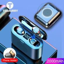 새로운 진정한 무선 블루투스 이어폰 및 스피커 2 1 HD 스테레오 무선 헤드폰 미니 이어폰베이스 헤드셋 2000mAh 빈
