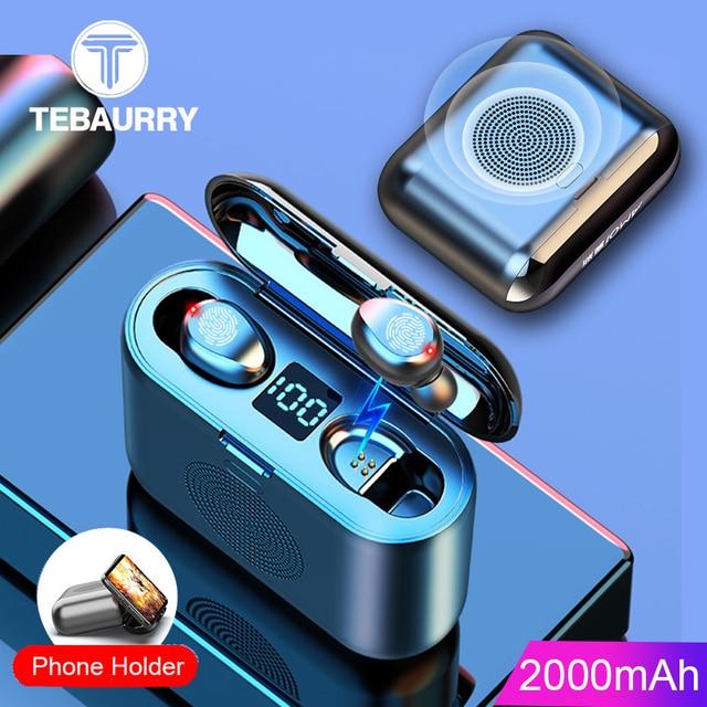 New True Wireless Bluetooth Earphone & Speaker 2 in 1 HD Stereo Wireless Headphones Mini Earbuds Bass Headset with 2000mAh Bin