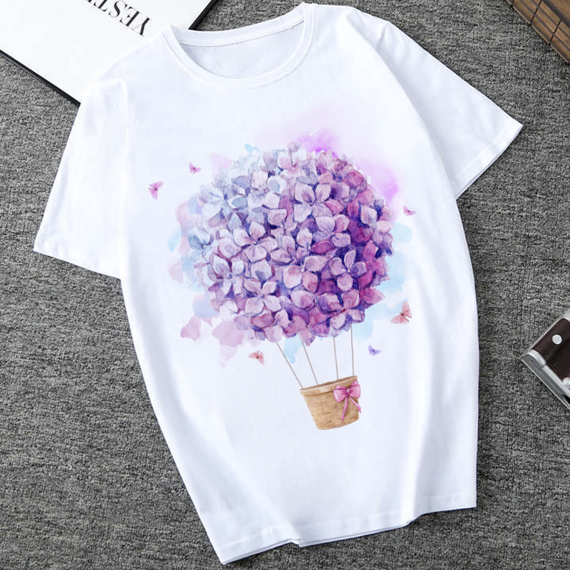 2020 Summer Fashion T Shirt Women O-neck Flower Print Tshirt Tops Harajuku Vintage T-shirt 90s Aesthetic Floral Graphic T Shirts