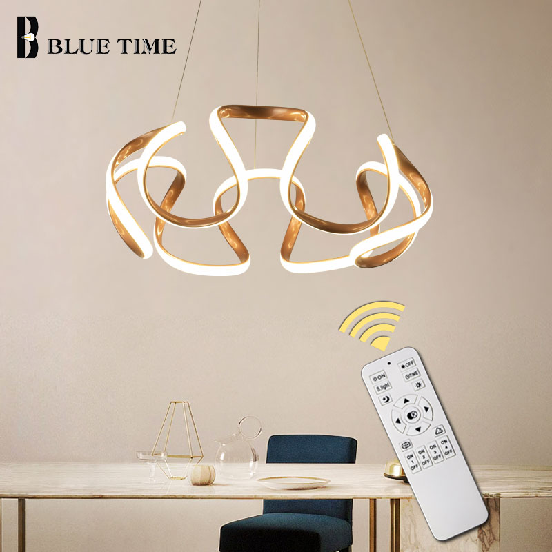 Hanging Lamp Modern LED Pendant Light Dining Room Bedroom Living Room Modern LED Pendant Lamp Ceiling Fixture Coffee&Golden&Gray