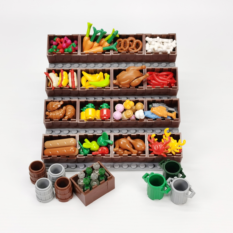 City Food Accessories Building Blocks Tableware Fish Bread Carrot Vegetables Fruits Basket Street View Parts Friends Bricks Toys