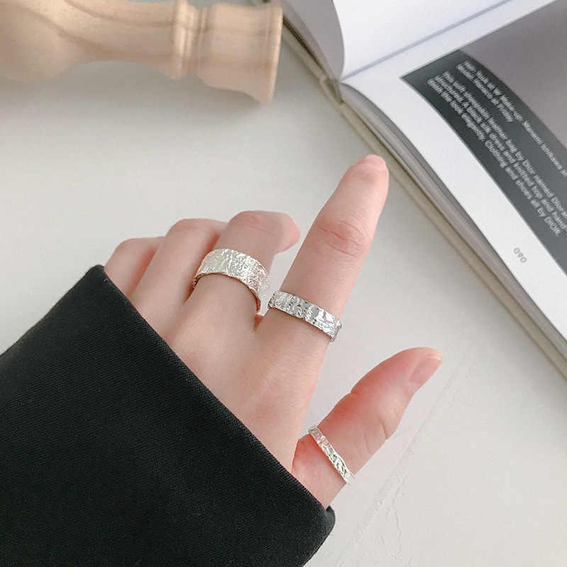 XIYANIKE, anillos irregulares coreanos de Plata de Ley 925 a la moda para mujer, anillos geométricos minimalistas de plata y oro ajustables