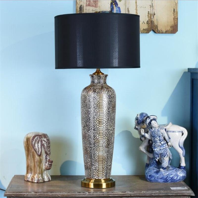 Grande lampe de Table en céramique pour Foyer chambre étude décor luxueux moderne amérique pays noir bureau lecture lumière H 75cm 2503