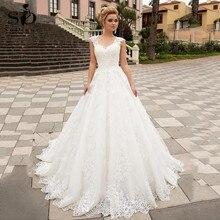Lüks balo beyaz düğün elbisesi dantel aplikler v yaka tül dantel Up ısmarlama gelin elbise Robe De Mariee
