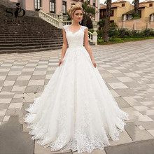 Luxury Ball Gown White Wedding Dress With Lace Appliques V neck Tulle Lace Up Bespoke Bridal Dress Robe De Mariee