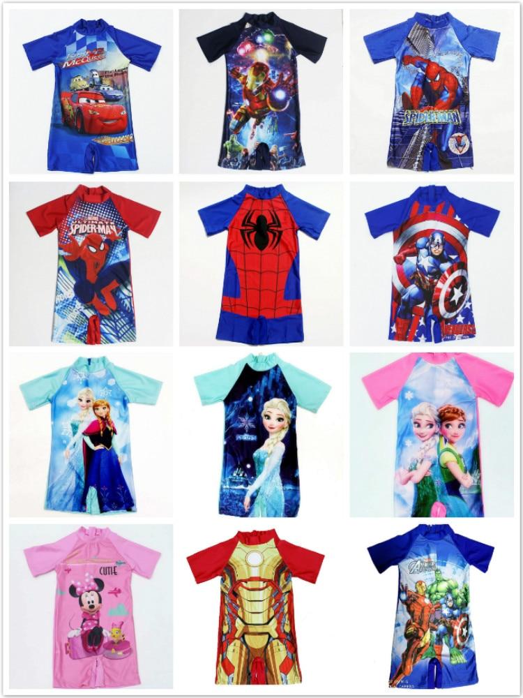 Baby Boy Swimwear Girl One Piece Swimsuits Cartoon Spiderman Frozen Anna Surfing Wear Kids Children Beachwear Bathing Clothes