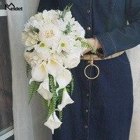 Meldel невесты водопад Свадебный букет Искусственный Винтаж пион Гортензия цветок лилии каллы свадебные принадлежности роскошные букеты