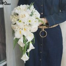 Meldel Braut Wasserfall Hochzeit Bouquet Künstliche Vintage Pfingstrose Hortensien Blume Calla Lily Hochzeit Liefert Luxuriöse Bouquets