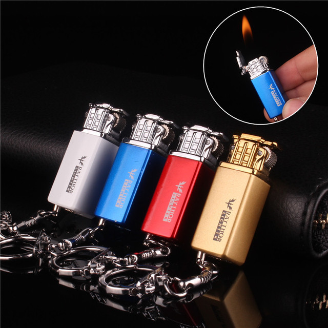 Mini Compact Keychain Lighter Jet Flint Lighter Butane Gas Inflated U Disk Free Fire Gasoline Lighter Metal Funny Toys No Gas 1
