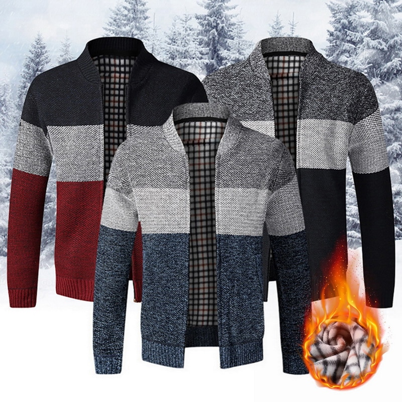 Men's Sweater Coat Thick Fleece Patchwork Wool Cardigan Sweater Jackets Winter Warm Knitted Coats Male Casual Knitwear 1