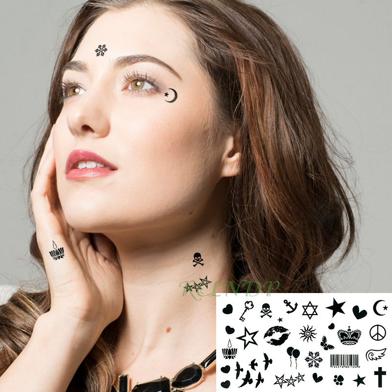 Waterproof Temporary Tattoo Sticker On Body Little Birds Stars Love Tatto Ear Face Eye Flash Tatoo Fake Tattoos For Girl Women