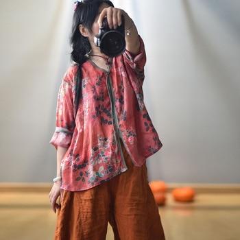 Women Spring Autumn V Neck Printed Blouse Tops Ladies Vintage Print Summer Blouses Female 2020 Shirt Tops 1