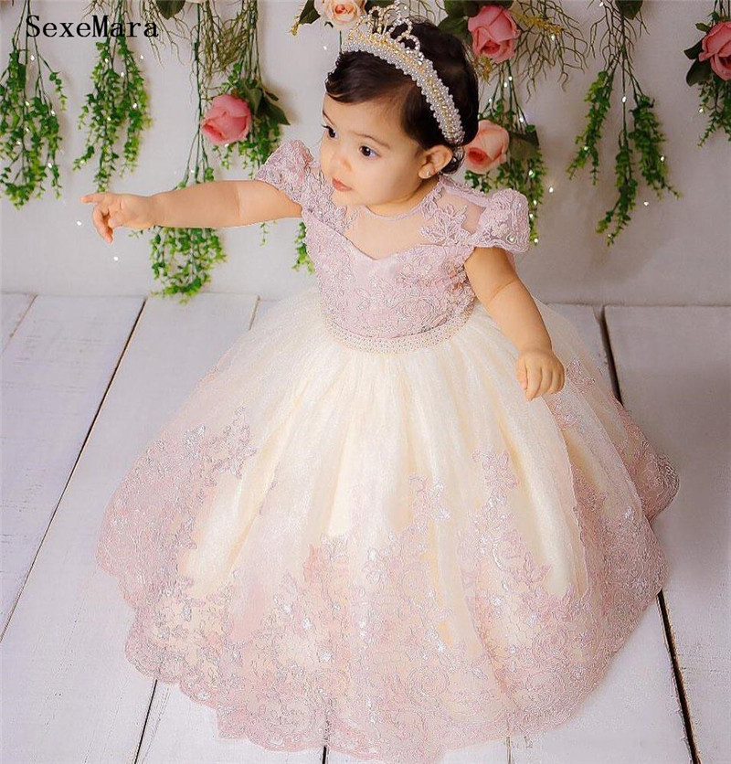 SexeMara Cute Pink Lace Flower Girl Dress Baby Toddler Tulle Birthday Gown Kids Clothes For Wedding And Party Short Sleeve