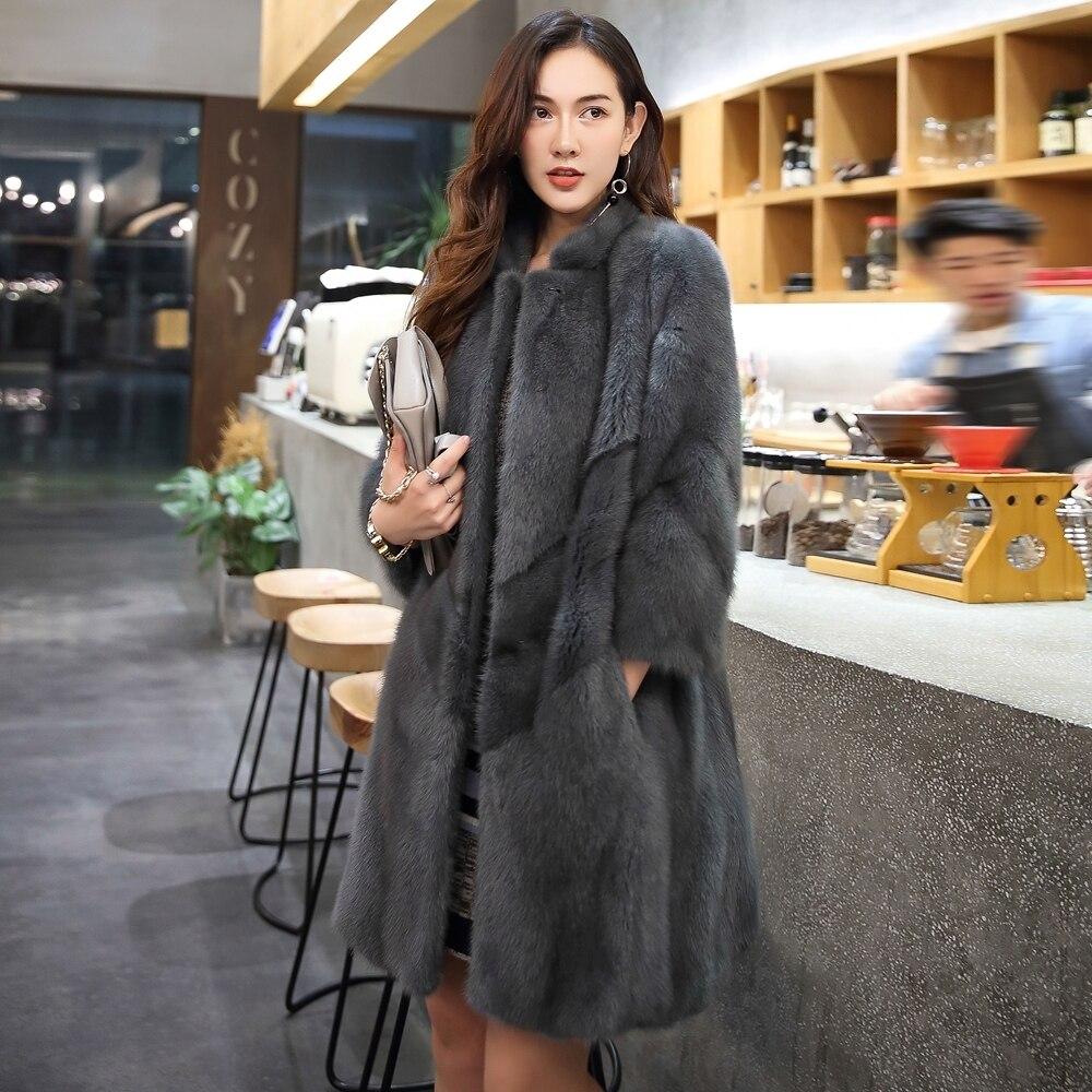 Mink Real Fur Coat 2020 Winter Jacket Women Natural Luxury Full Pelt Fur Jackets For Women Korean Long Jacket MY3942 S