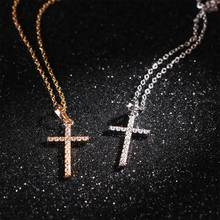 1PCS Charms Nacklace Cross Pendant Plated Zirconia Fashion Jewelry Necklace For Wemon(China)