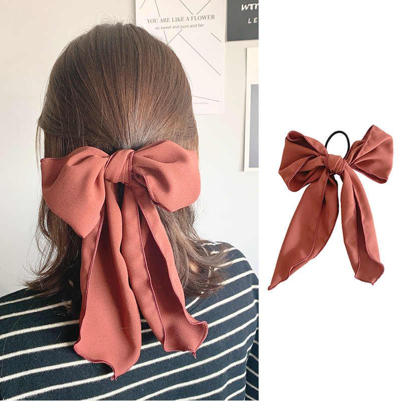 Nieuwe Chiffon Grote Strik Chouchou Vrouwen Meisjes Elastische Haar Elastiekjes Accessoires Voor Tie Haar Ring Touw Ornament Hoofdtooi