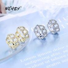 Nehzy 925 prata esterlina nova moda feminina jóias de alta qualidade simples cristal zircão oco corrente brincos