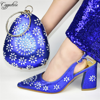 Wonderful royal blue spring/autumn pointed toe sandal shoes and purse bag set for lady  777-3, heel height 9cm