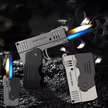 Two Flame Deformation Pistol Lighter Creative Torch Turbo Butane Gas Lighters Funny Smoking Cigar Lighters Gift for Men